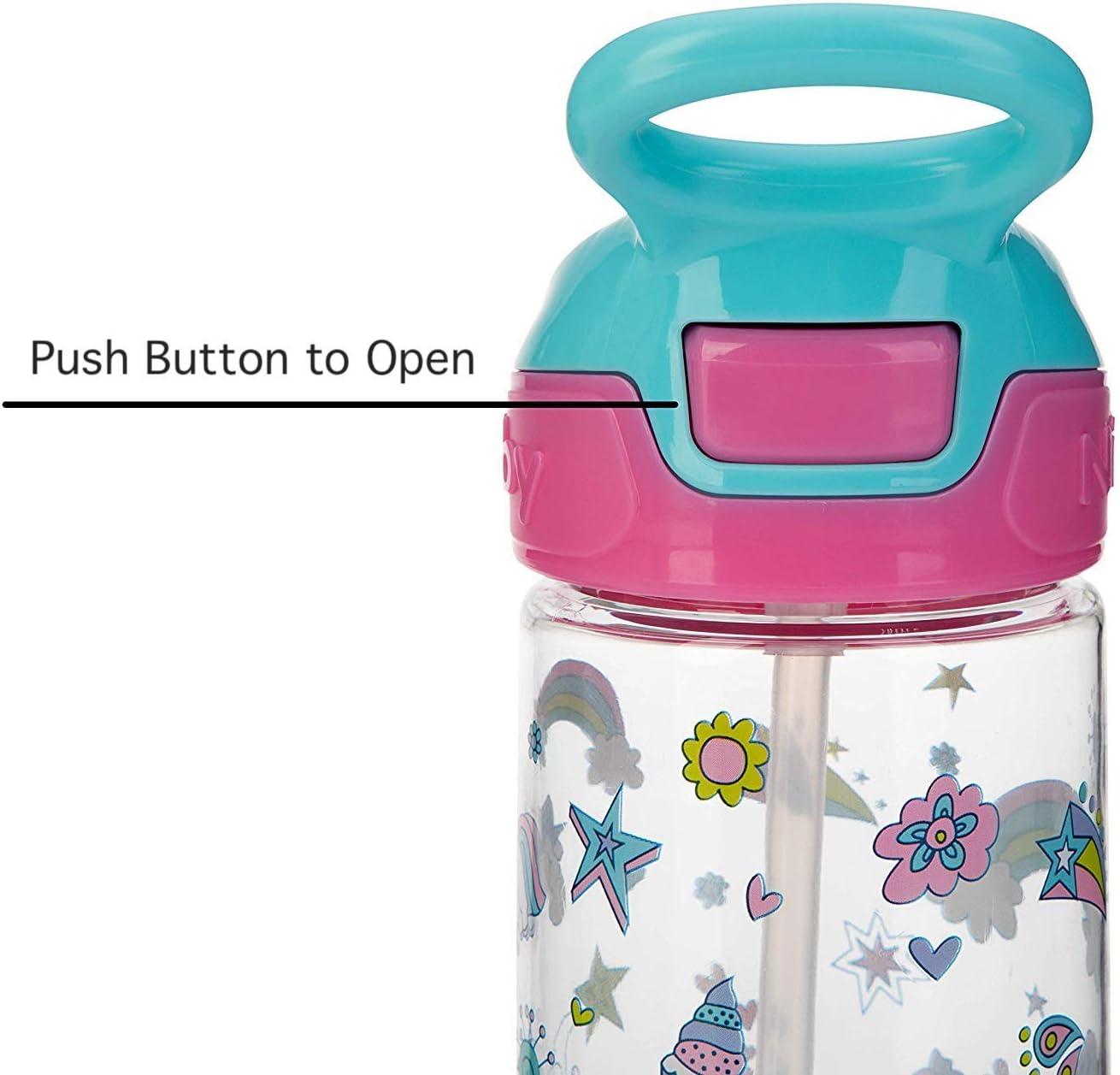 Unicorns Nuby Push Button Flip-it Soft Spout Tritan Water Bottle 18 Oz