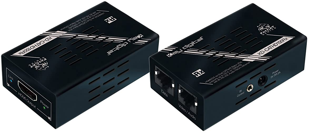 Key Digital KD-CATHD150 HDMI to Dual CAT5 Baluns Transmitter & Receiver TX+RX