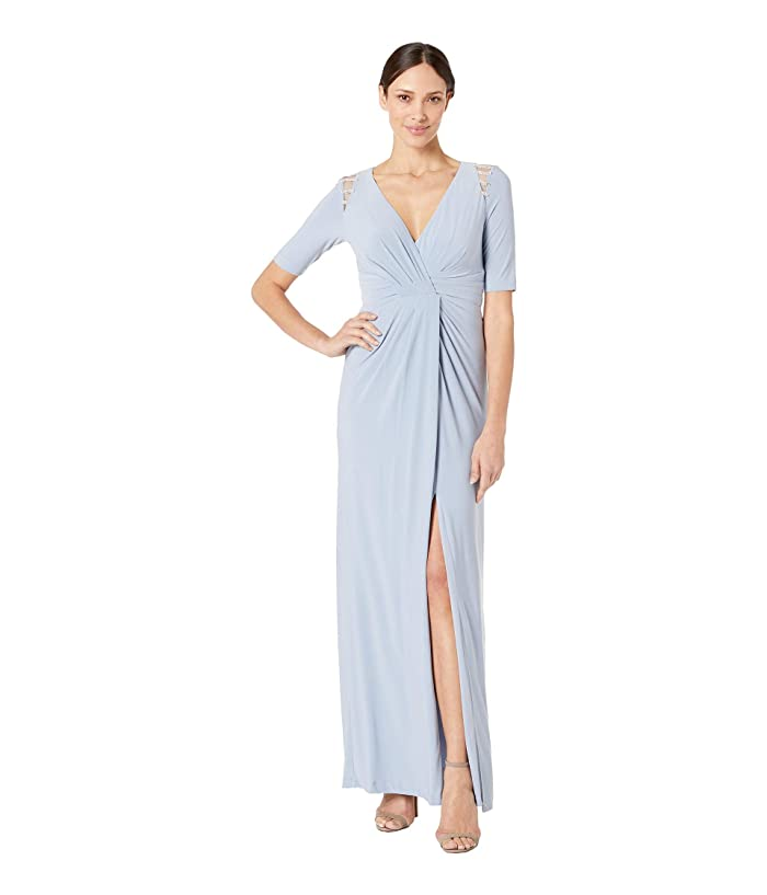 Adrianna Papell Embellished Trim Jersey Evening Gown (Ice Blue) Women