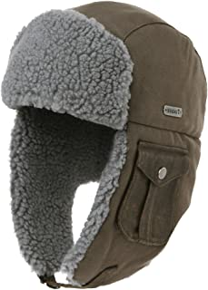 Comhats Cotton Trapper Hat Faux Fur Earflaps Hunting Hat Warm Pillow Lining Unisex