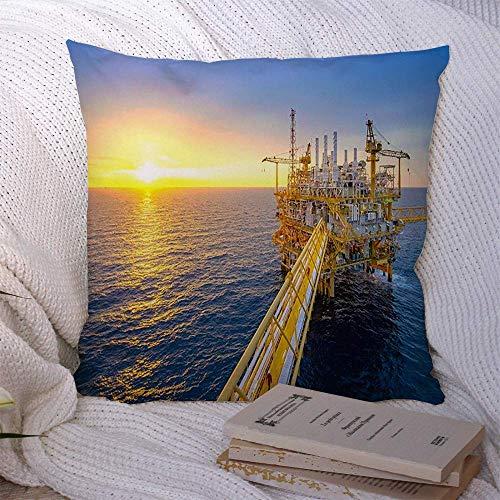 N\A Fundas de Almohada Decorativas para sofá Cama Sofá Blue Petroleum Offshore Oil Gas Rig Platform Sky Beautiful Finance Industria Industrial Exploración Funda de cojín Suave