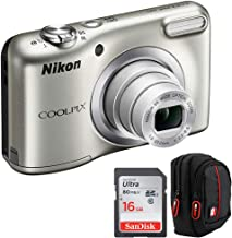 Nikon 26518B COOLPIX A10 16.1MP 5X Zoom NIKKOR Glass Lens Digital Camera Silver  Bundle with Sandisk Ultra SDHC 16GB UHS Class 10 Memory Card, Deco Gear Camera Case