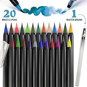 Putwo Aquarelle Brosse Stylos Feutre Coloriage Stylo Kit 20