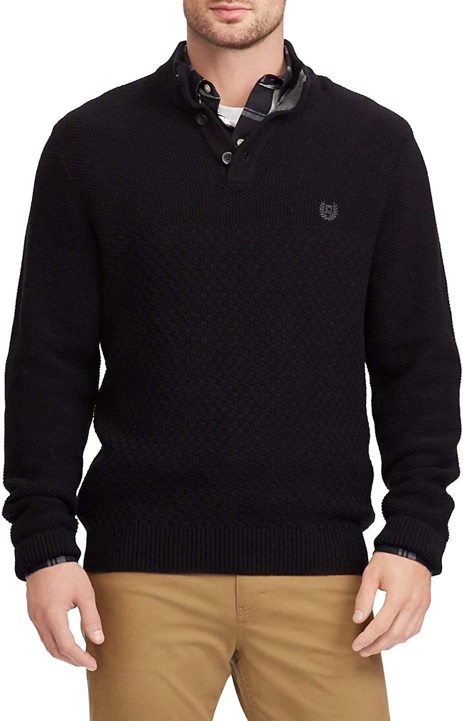 Chaps Men's Cotton Mockneck with Elbow Patches Pullover Sweater