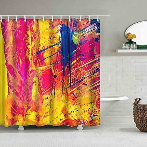 girlsight Dekor Duschvorhang Buntes Design, Stoff Badezimmer Dekor Set mit Haken 180x200cm, Multi 373.de Arte, arte contemporáneo, arte Moderno, artístico