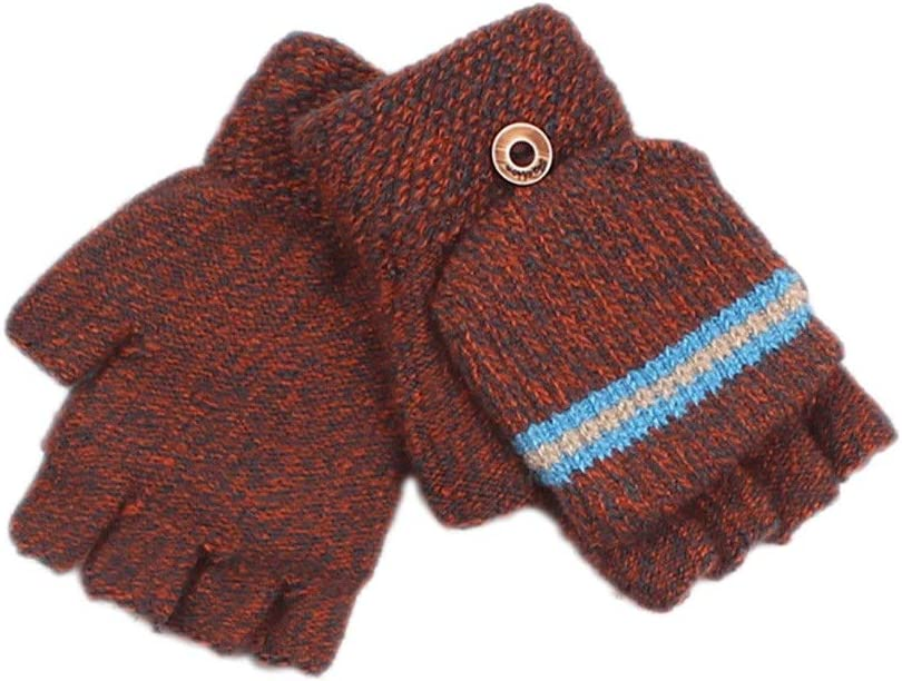 EODNSOFN 2020 Children Kids Fingerless Gloves Striped Half Finger Knitted Mittens Winter Soft Unisex Basic Gloves Girls Boys Guantes (Color : C)