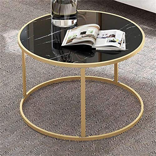 XJZKA Nesting Coffee Table, Round Side Table with Metal Frame, Modern Design, Sturdy And Easy Assembly, for Living Room Coffee Shop,Black