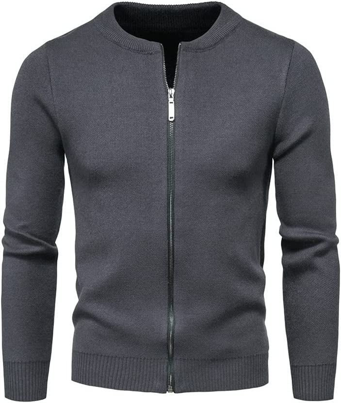 PDGJG Men's Knitted Sweater Jacket Long Sleeve Cardigan Wool Men's Lapel Workwear Cardigan with sweater (Color : Gray, Size : M code)