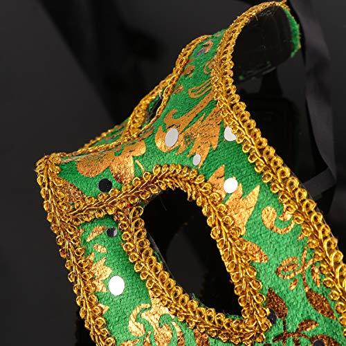 1 máscara masculina de renda meia face ajustável para baile de máscaras, vestido chique de Natal