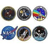 6 Stück NASA Aufnäher, NASA Patches, Kombination Klett NASA Gestickte Aufnäher für Rucksäcke Caps Hüte Taschen Sammlung
