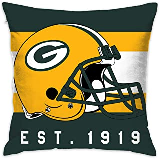Gdcover Custom Stripe Green Bay Packers Pillow Covers Standard Size Throw Pillow Cases Decorative Cotton Pillowcase Protecter with Zipper - 18x18 Inches