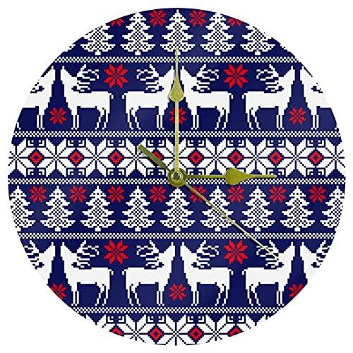Yoliveya Reloj de pared redondo silencioso de Navidad con ciervo y pino decorativo que no hace tictac, silencioso, para regalo, hogar, oficina, cocina, guardería, sala de estar, dormitorio, 25