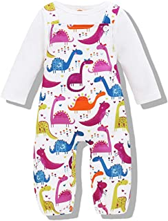 Newborn Baby Girls Cute Romper Dinosaur Jumpsuit Long Sleeve Shirt Baby Clothes Fall Winter Outfit Set
