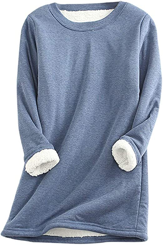 Franterd Warm Sweatshirts for Women Winter Casual Thick Pullover Tops Sherpa Lined Soft Fleece Sweaters Jumpers Blouse