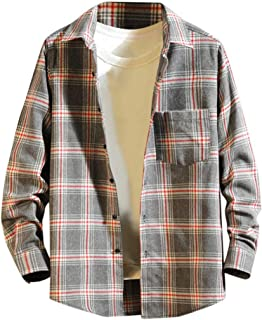 Overdose Men's Long Sleeve Shirt Button Turndown Collar Plaid Casual Top Blouse Shirts