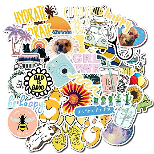 Vanson 50 PCS Stickers Pack, Colorful Waterproof Stickers for Flask, Laptop, Phone, Water Bottle, Cute Aesthetic Vinyl Stickers for Teens, Girls