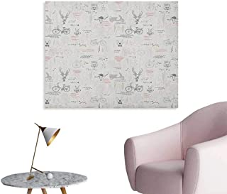 Anzhutwelve Indie Corridor/Indoor/Living Room Minimalist Pattern with Trees Foliage Deer Rabbit Fox Bear Figures The Office Poster Pale Grey Vermilion Fuchsia W36 xL32