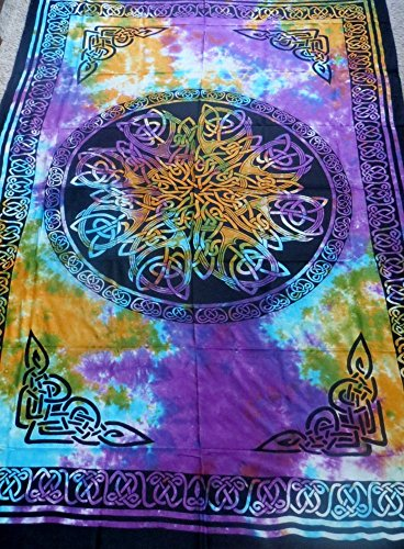 4Rissa Tie Dye Celtic Knot Mandala Tapestry Wall Hanging Bedspread