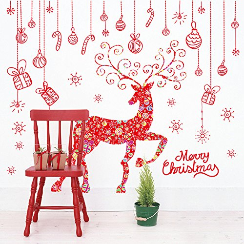 CUGBO White Reindeer Snowflake Christmas Tree Wall Sticker Home Decor Decal for Glasses Shops Window