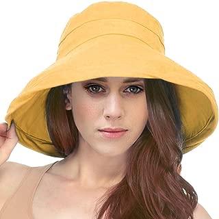 Simplicity Women's Cotton Summer Beach Sun Hat with Wide Fold-Up Brim
