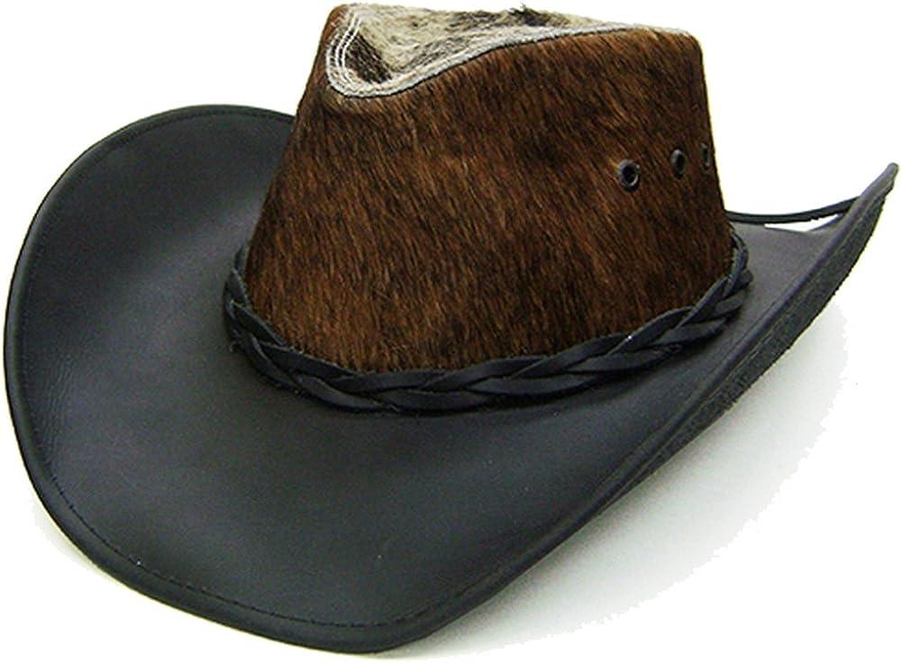 Modestone Unisex Leather Cowboy Hat Hair On Cowhide Crown Black