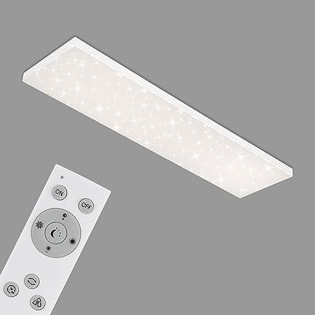 Briloner Leuchten - Panneau LED, plafonnier à gradation, plafonnier avec bord lumineux, décor étoilé, contrôle de la température de couleur, 38 Watts, 3 800 lumens, blanc, 1195 x 295 x 69 mm 7381-416