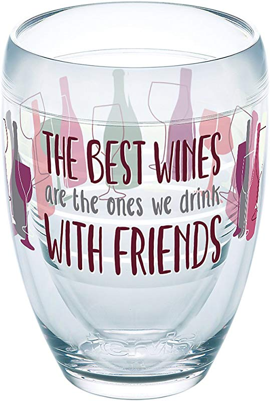 Tervis 1246081 The Best Wines Are The Ones We Drink With Friends Tumbler With Wrap 9oz Stemless Wine Glass Clear