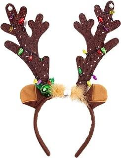 HansGo Antler Halloween Headband, Christmas Light-up Antler LED Reindeer Antlers Headband