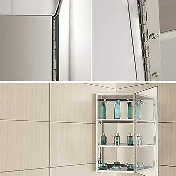Mirrored Cabinets Bathroom Corner Mirror Cabinet Balcony Stainless Steel Mirror Cabinet Door Hanging Amazon De Home Kitchen