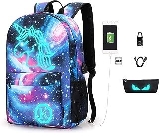 Anime Aniti-Theft Backpack Luminous School Bookbag Waterproof Laptop Backpack wth USB Charging Port