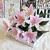 Artificial Flowers, 1 Bouquet 10 Heads Silk Lilies Fake Flowers Foam Flowers Leaf Bush Bridal Bouquet Floral Decor DIY for Home Party Garden Wedding Decoration