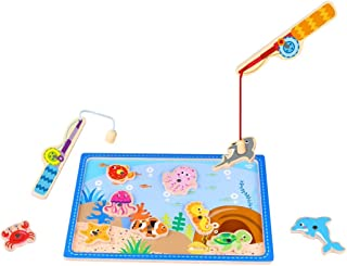 Toddle Toy Fishing Game - Wooden Magnetic Fishing Game for Kids and The Ideal Best Fun Colorful Fishing Game for Toddlers