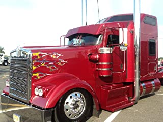East Coast Vinyl Werkz No. 12 Semi Truck Flame Decals - Tribal - Airbrushed Fire w/Chrome - 12 pc. Set - Peterbilt 379 389 Kenworth W900 W900L Freightliner Classic XL