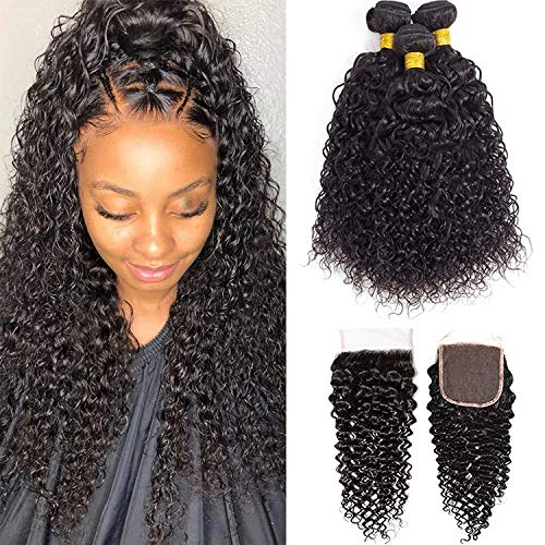 10A Brazilian Virgin Hair Curly Bundles with Closure (12 14 16+10) Kinky Curly Weave Human Hair 3 Bundles with Closure Free Part 100% Unprocessed Virgin Remy Hair Bundles with Closure Natural Color