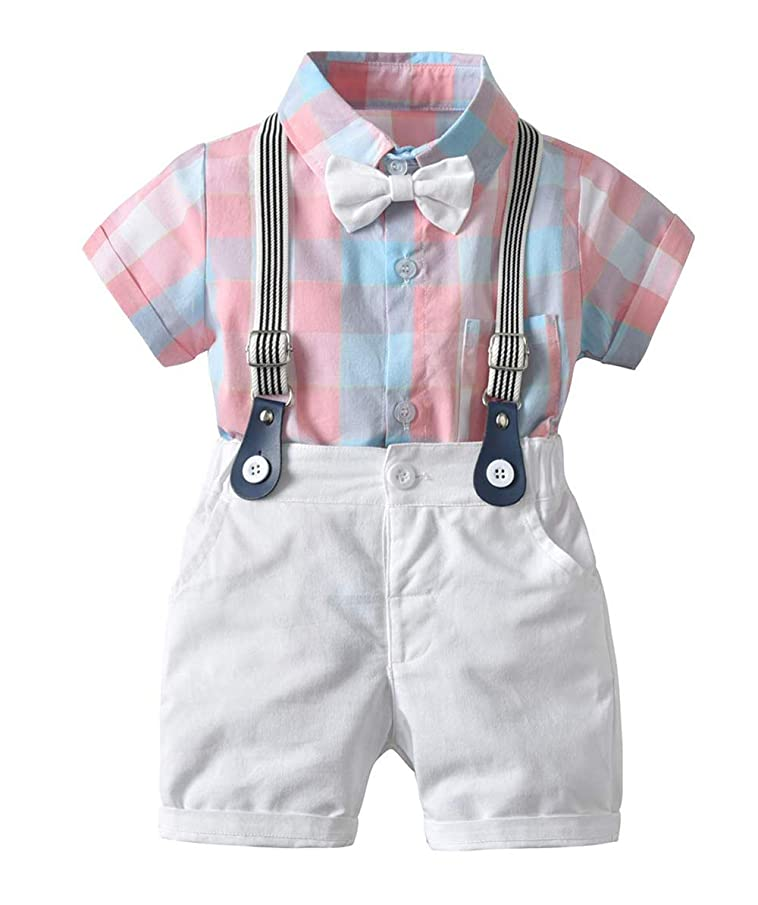 Baby Boys Overalls Outfits Cotton Plaid Romper Tops+Suspender Bib Pants with Bowtie Gentleman Shorts Set