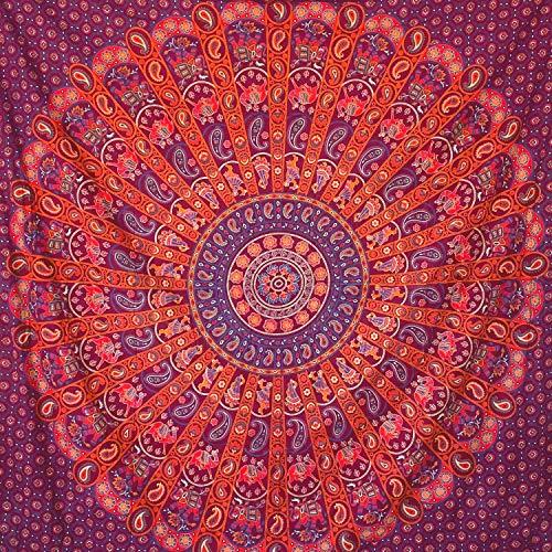 momomus Arazzo Mandala - Indiano- 100% Cotone, Grande, Multiuso - Telo Arredo Copridivano/Copritutto - Copriletto Matrimoniale - Plaid/Gran Foulard per Divano - Rosso, 210x230 cm