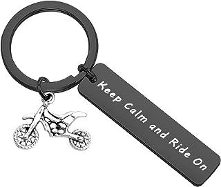 PLITI Dirt Bike Rider Gifts Dirt Bike Boyfriend Keyring Keep Calm and Ride On Dirtbike Rider Keychains