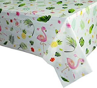 WERNNSAI Flamingo Tablecloth - 71''x 43.3'' Tropical Luau Party Disposable Plastic Table Cover Pineapple Party Supplies for Kid Girl Picnic Birthday Party Decoration