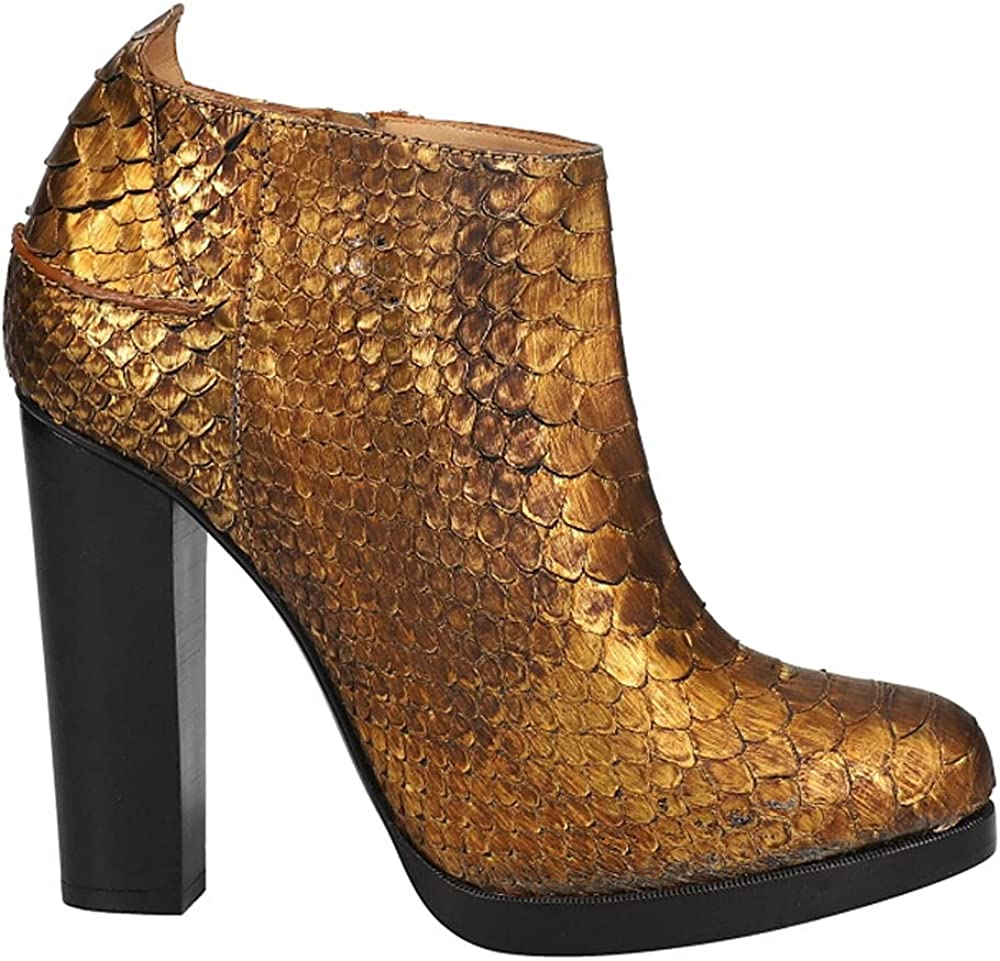 Lucchese Womens Gold Python Pull On Dress Boots Mid Calf Low Heel 1-2