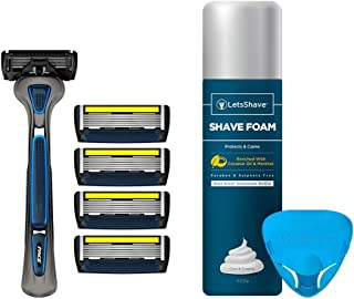 LetsShave Pro 6 Advance Shaving Razor (6 Blades Razor with Trimmer) Pack of 4 Blades + Razor Handle + FREE(Razor Cap + Shave Foam - 200 g)