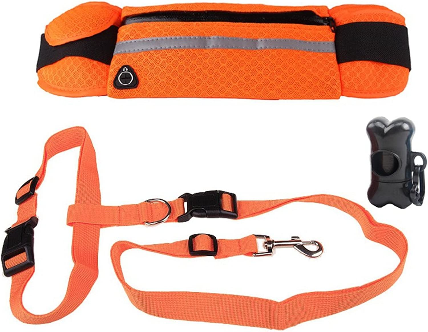GINBL Adjustable Dog Hands Free Leash Belt with Pouch Pockets for Small Dogs Training Walking Running Belts Waist Packs