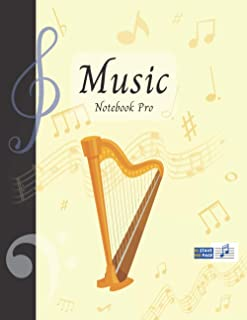 Music Notebook Pro With Instrument - Harp | Advanced 10 Staves Interior With Educational Materials: Music Manuscript Paper...