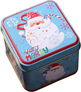 Ruipunuosi Embossing Christmas Tinplate Empty Tins Candy Cookie Gift Storage Container Holiday Decorative Box