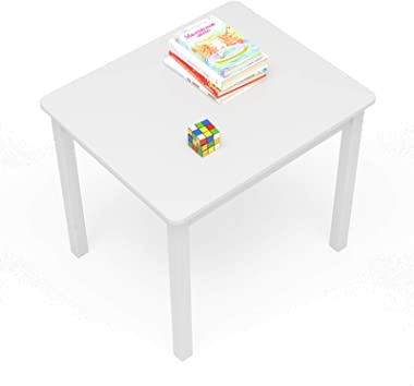 Timy Kids Activity Table White Solid Wood Kids Furniture Toddler Table for Eating, Reading, Playing