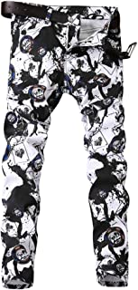 Men's Stylish Floral Printed Washed Denim Stretch Straight Skinny Fit Pants Jeans