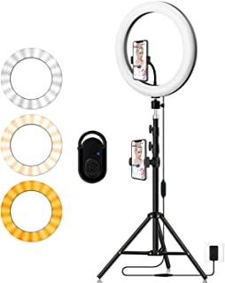 Photography Ring Light with Tripod Holder: Yingnuost 14-inch Dimmable LED Circle Lamp with Phone Holder & vlogging Camera ...