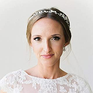 Catery Bride Wedding Headband Crystal Bead Hair Vine Bridal Hair Accessories for Women and Girlss for Women and Girls (Sliver)