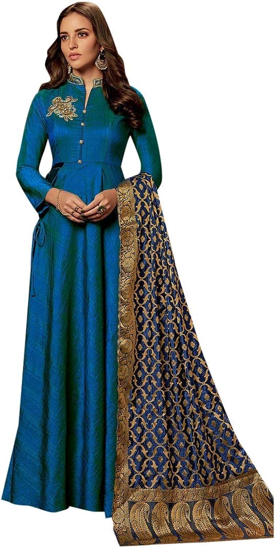 bluee Collar Anarkali Salwar Kameez with jacquard Dupatta Suit Collection 7390