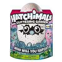 include: 1 hatchimal scintillante giardino batter owlicorn, 1 nido, 1 libretto di istruzioni, guida 1 di riferimento, 2 batterie AA
