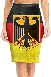 WANING MOON Women's Retro German Flag High Waist Slim Skirt Office Pencil Dress Length